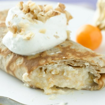 Crepes de ricotta albaricoque y nueces