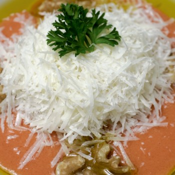 Cremoso de tomate, nueces y queso de oveja Carranzana de Cara Negra