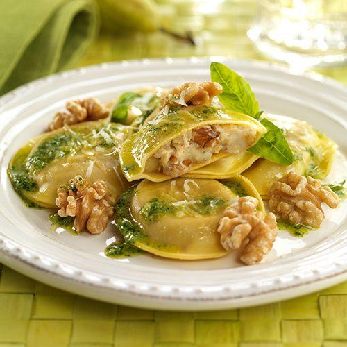 Raviolis de gorgonzola, pera y nueces