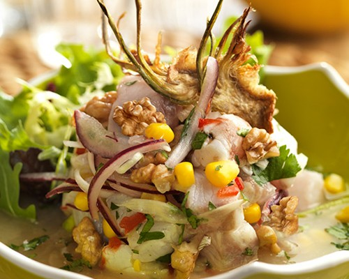 Ceviche de pescado con nueces