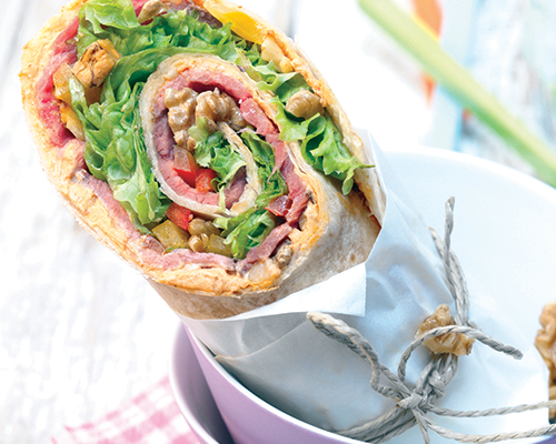 Wraps de roast beef con nueces