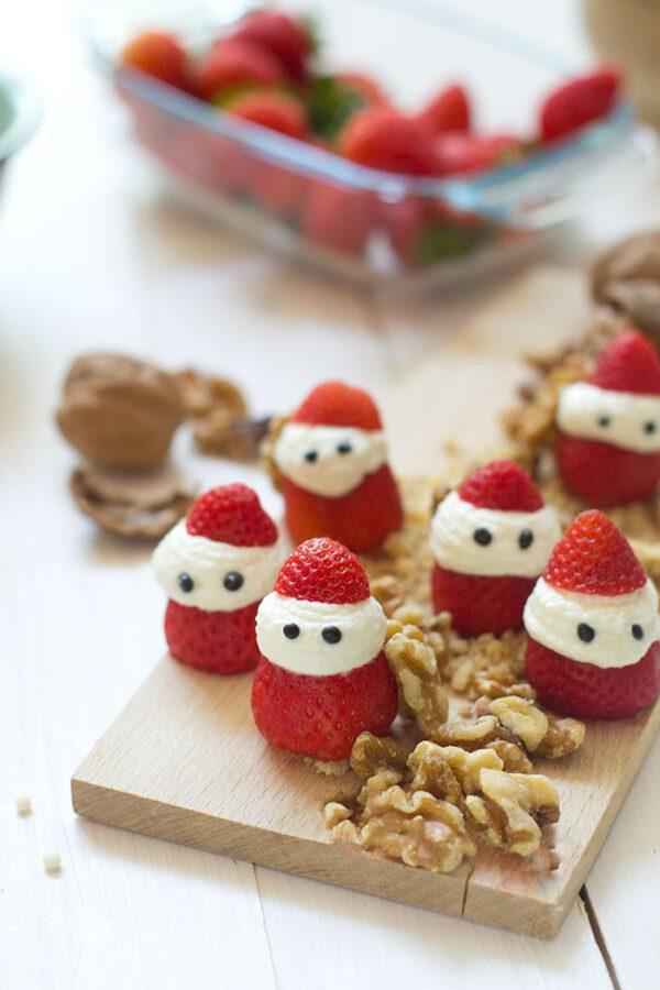 Fresas Papá Noel con nueces