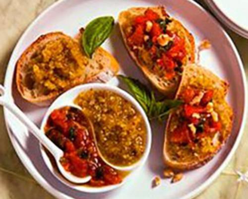 Burschetta de tomate pesto y nueces