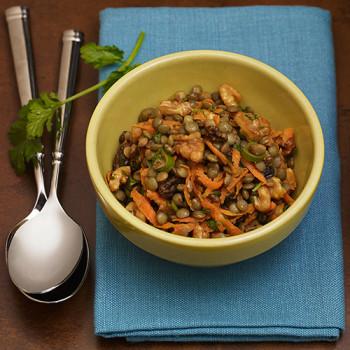 Ensalada de lentejas al curry con nueces